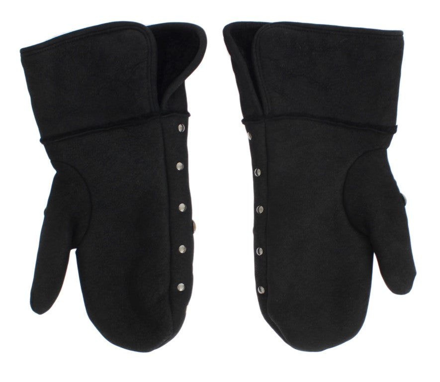 Gray Wool Shearling Studded Gloves - EnModaLife.Com