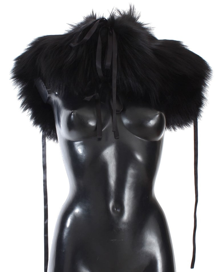 Black Fox Fur Shoulder Wrap Cover Collar Scarf - EnModaLife.Com