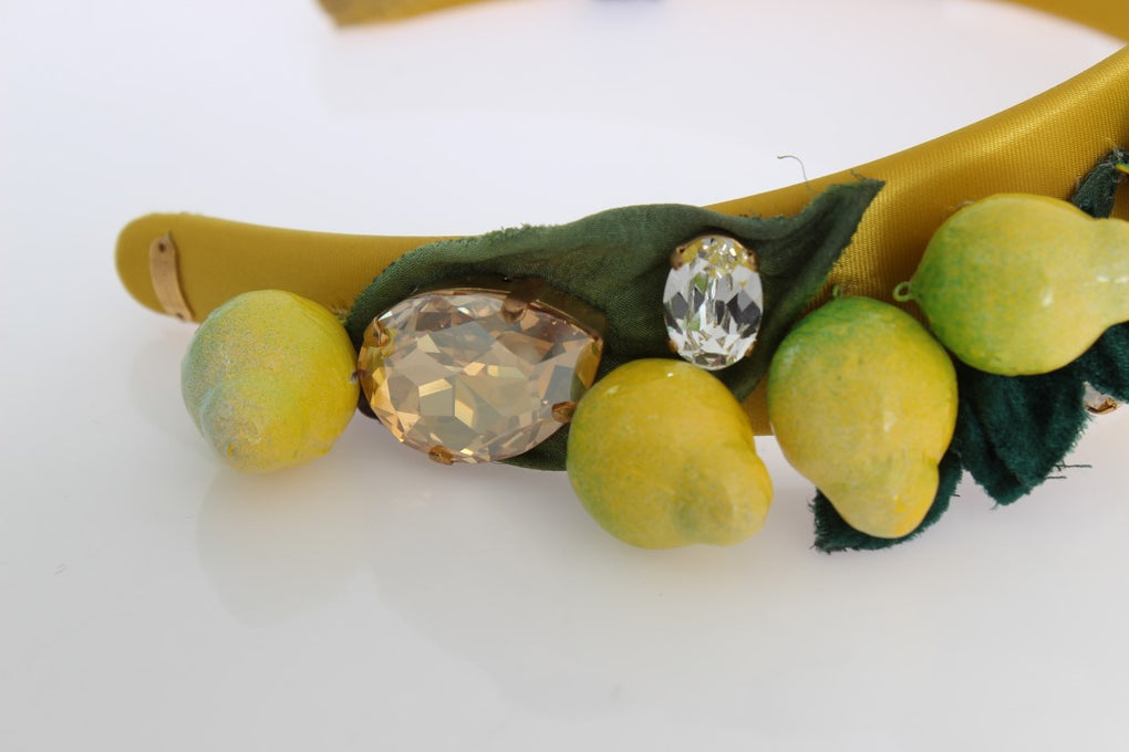 Yellow Sicily Lemon Crystal Floral Headband - EnModaLife.Com
