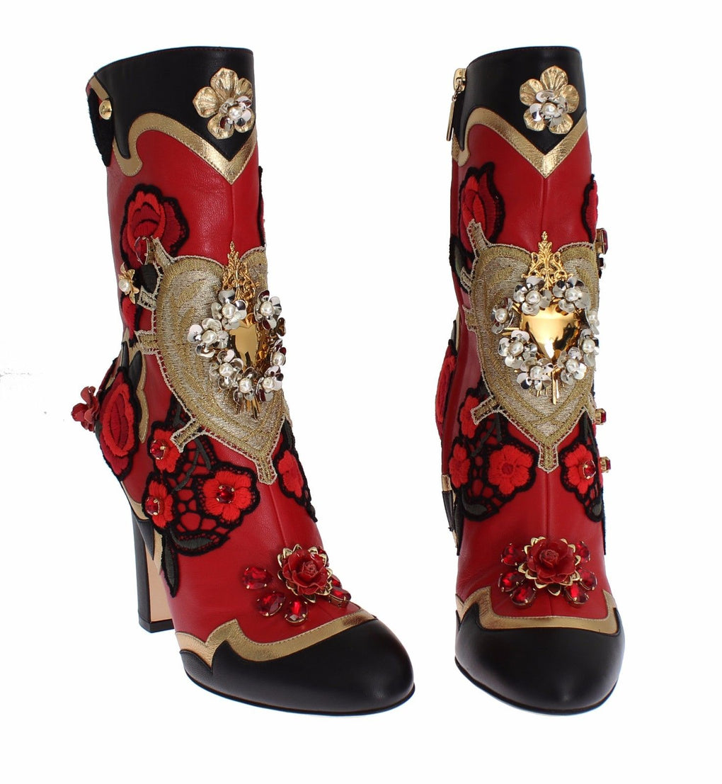 Roses Crystal Gold Heart Leather Boots Shoes - EnModaLife.Com