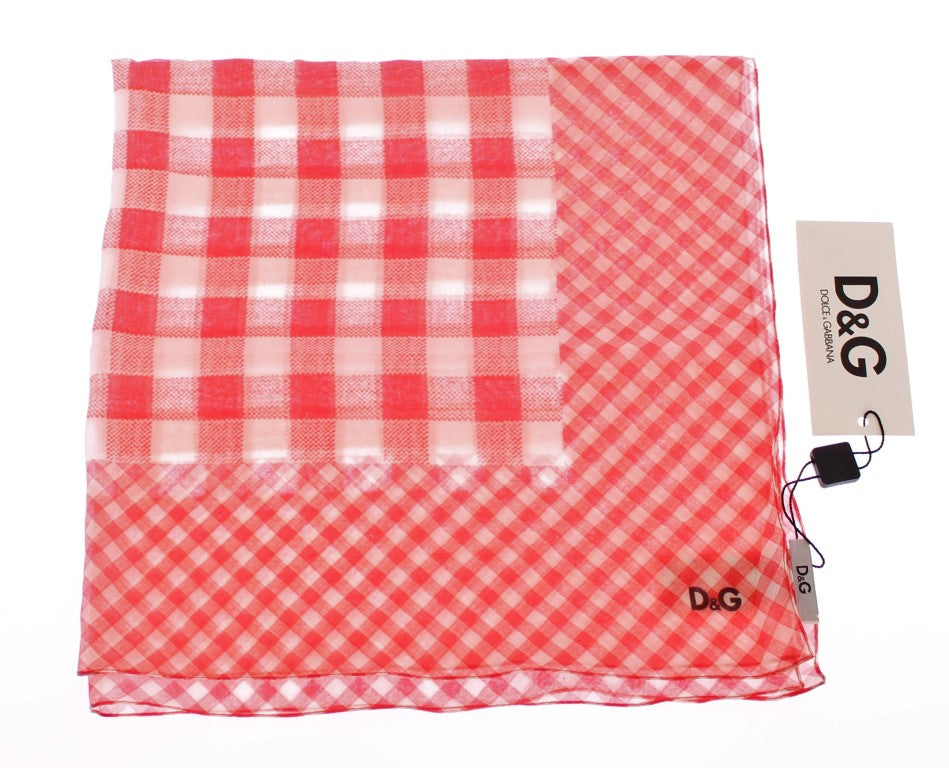 Red Checkered Cotton Scarf - EnModaLife.Com