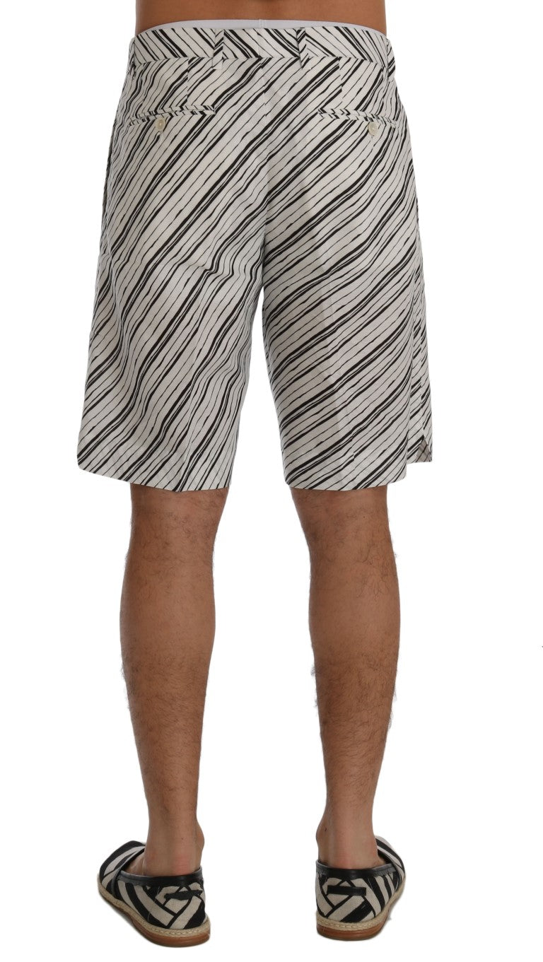 White Black Striped Casual Shorts - EnModaLife.Com