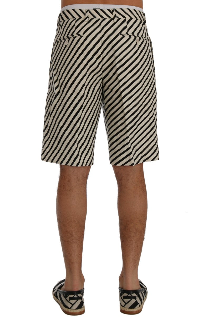 White Black Striped Hemp Casual Shorts - EnModaLife.Com