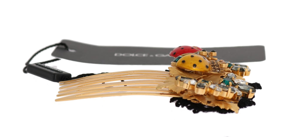 Gold Crystal Ladybug Floral Hair Comb - EnModaLife.Com