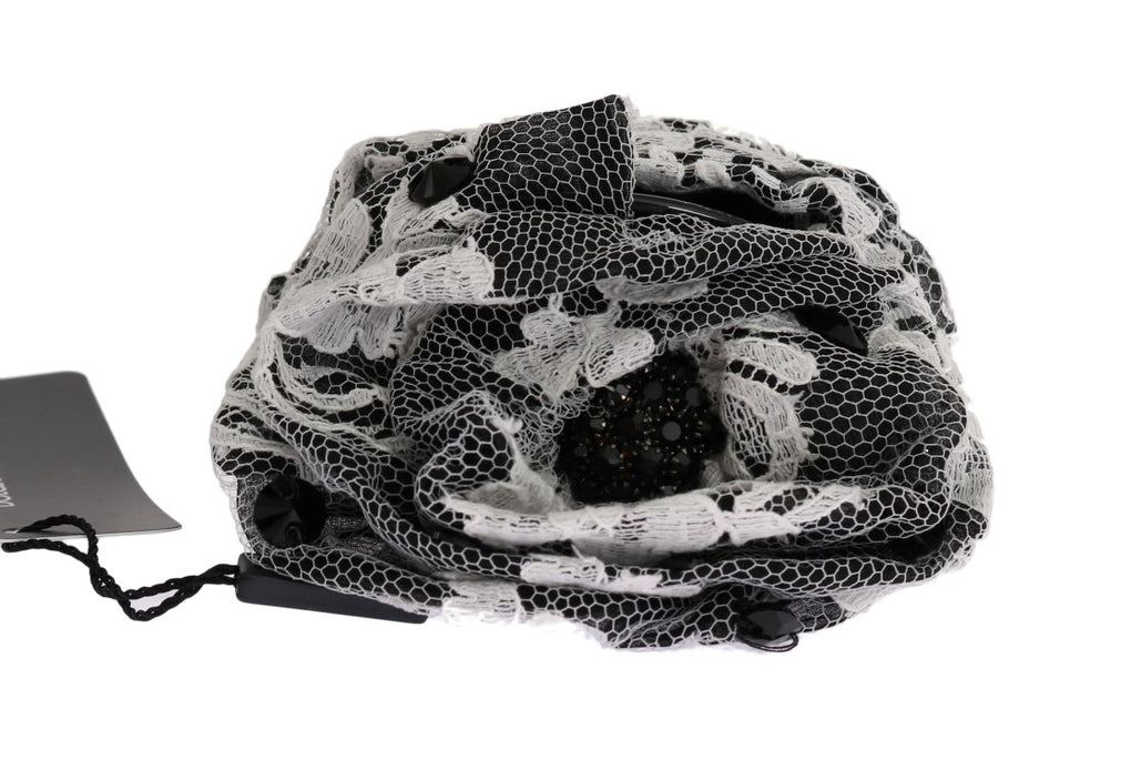Black White Floral Lace Crystal Hair Claw - EnModaLife.Com