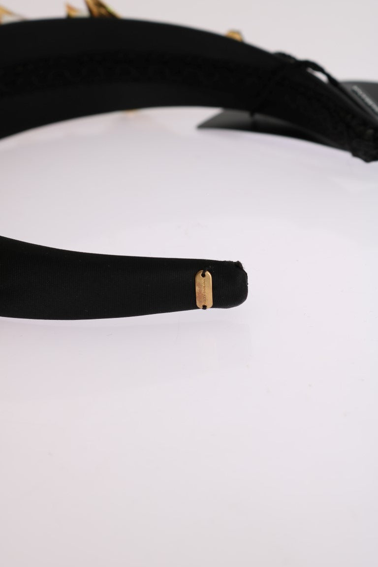 Black White Tulips Gold Crystal Headband - EnModaLife.Com