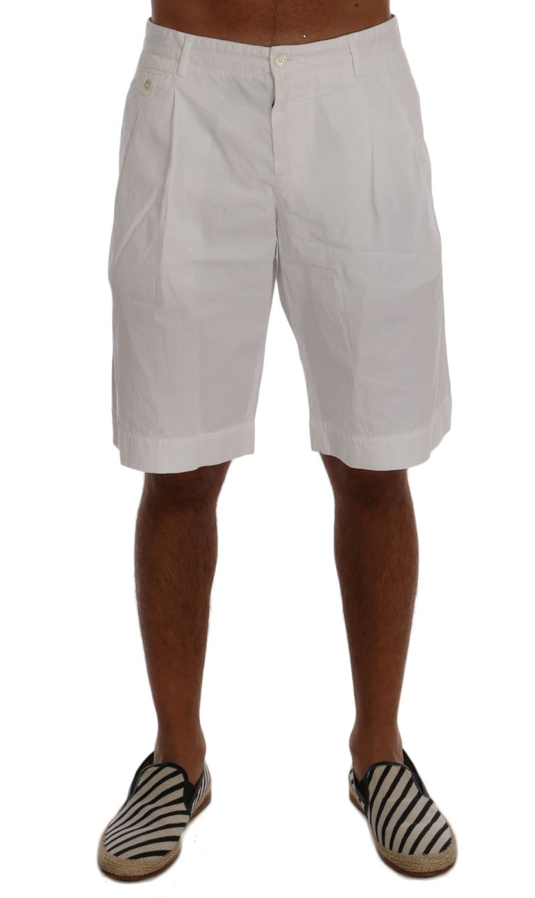 White Cotton Knee Length Shorts - EnModaLife.Com