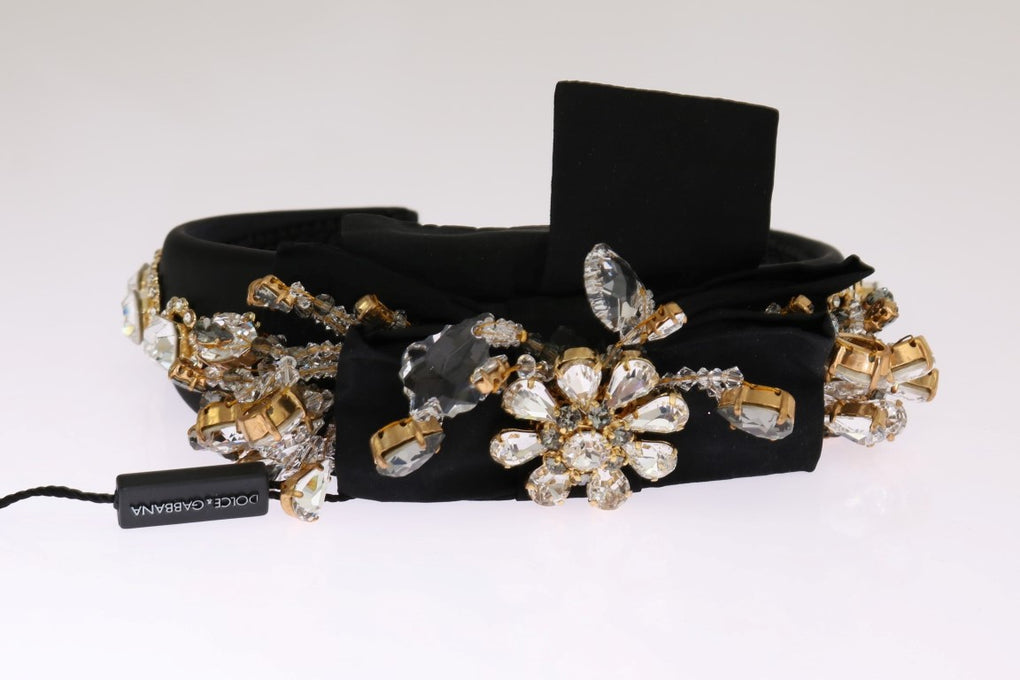 Black Crystal Silk Brass Headband - EnModaLife.Com