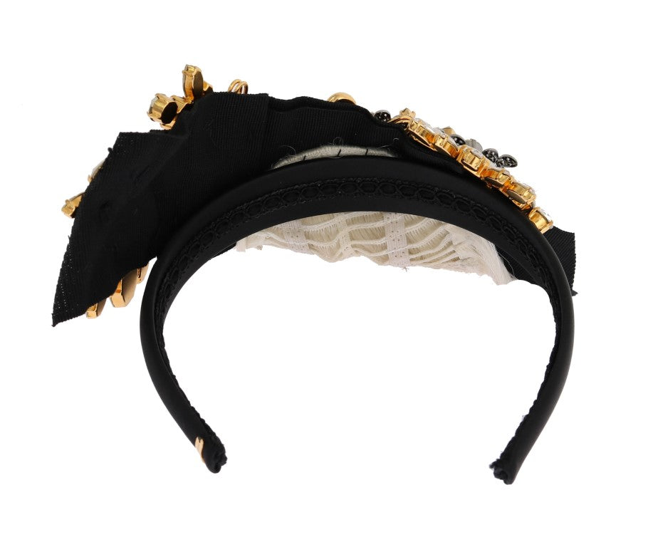Black Crystal White Hair Headband - EnModaLife.Com