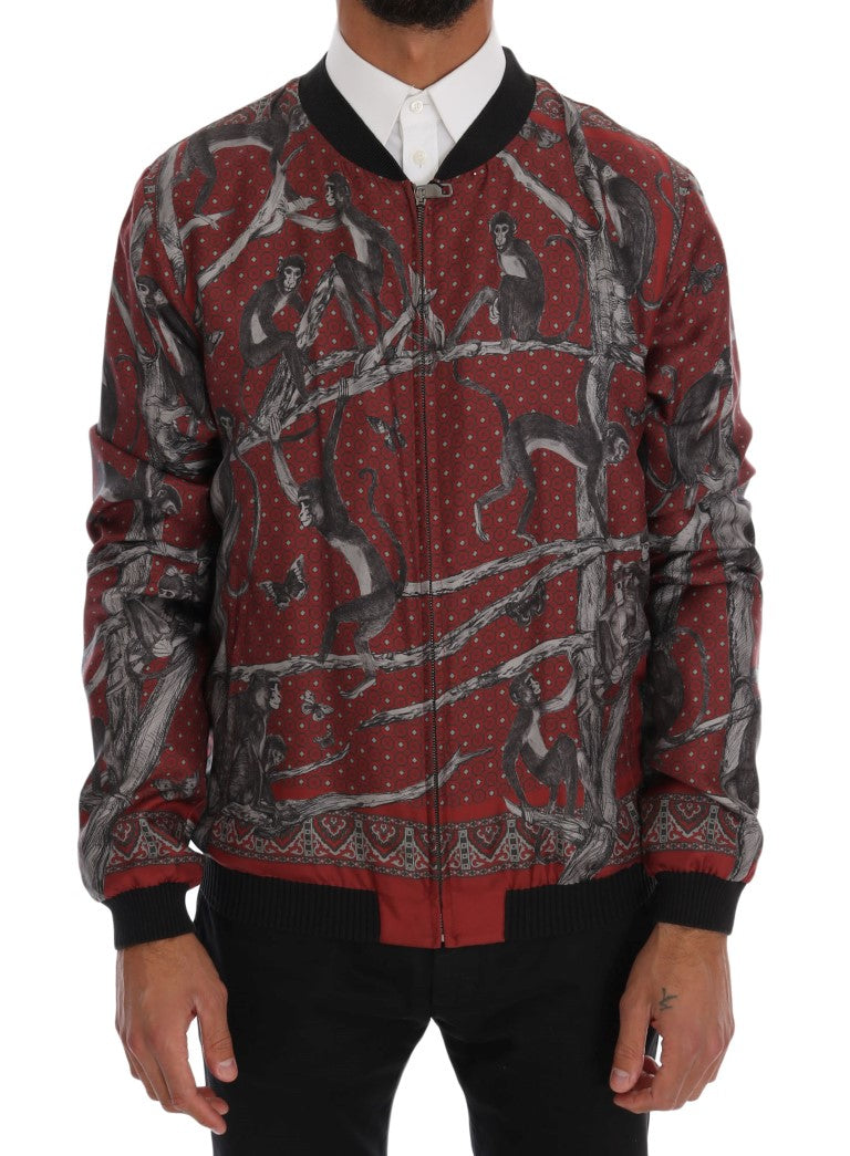 Bordeaux Silk Monkey Print Jacket - EnModaLife.Com