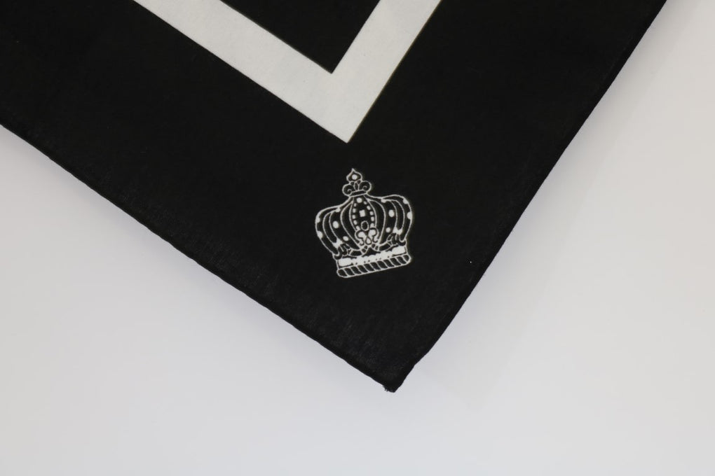 Black Cotton Crown Print Scarf - EnModaLife.Com