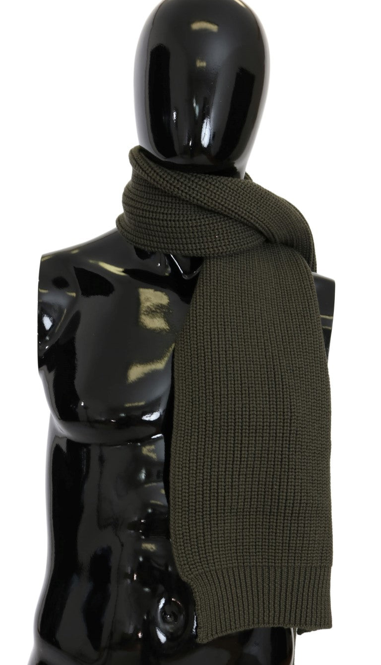Green Wool Knitted Scarf - EnModaLife.Com