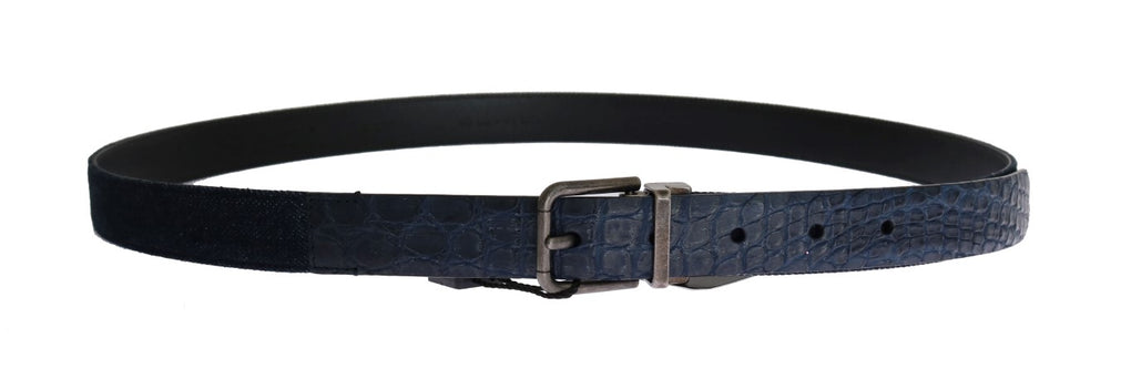 Blue Cayman Leather Cotton Belt - EnModaLife.Com