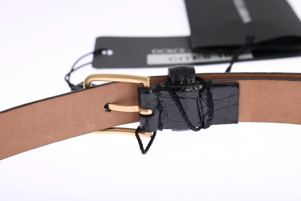 Black Cayman Leather Gold Buckle Belt - EnModaLife.Com