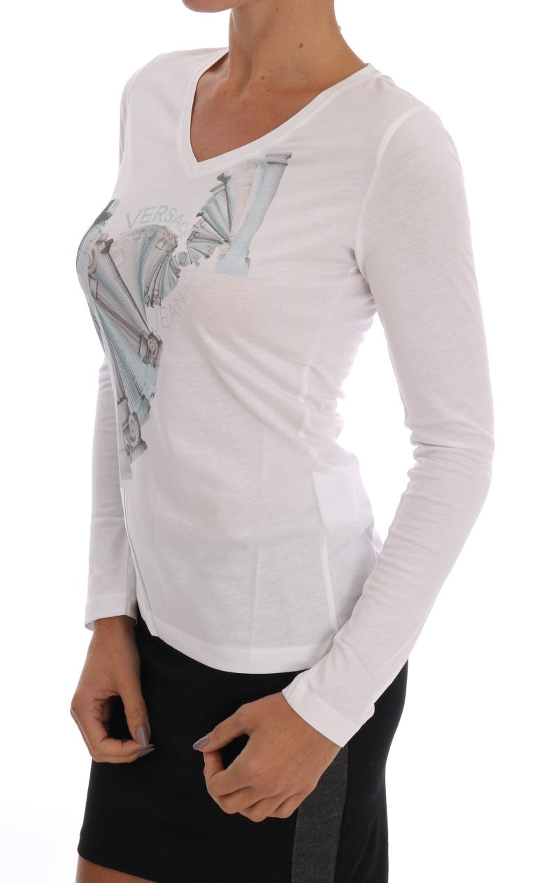White Cotton V-neck Pullover Sweater - EnModaLife.Com