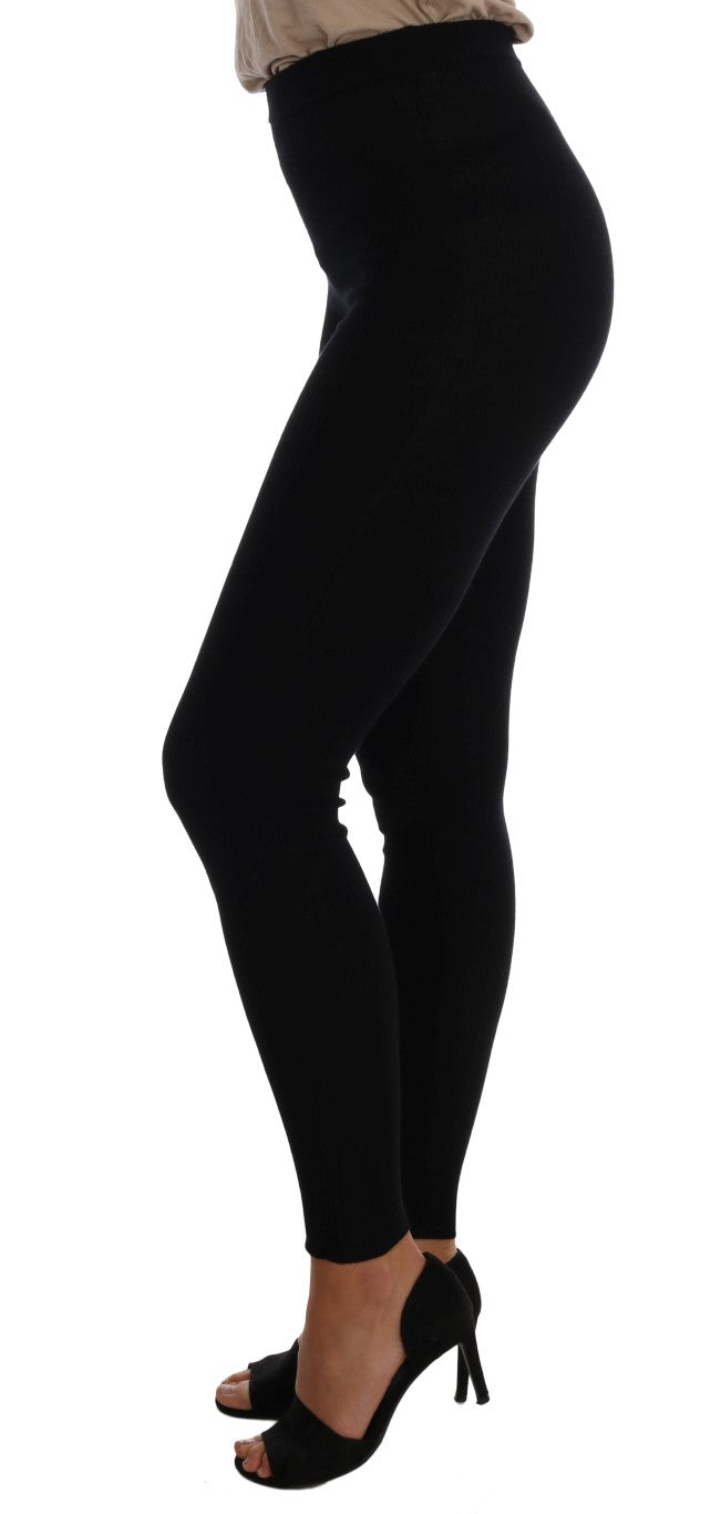 Black Cashmere Stretch Tights - EnModaLife.Com