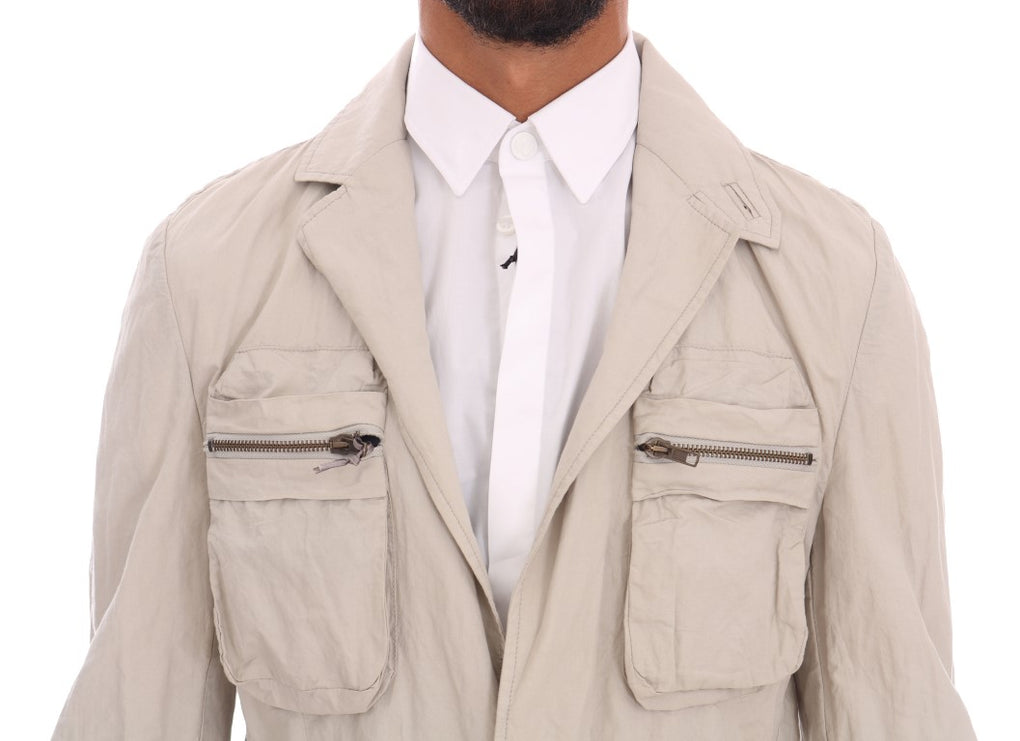 Beige Cotton Casual Jacket - EnModaLife.Com