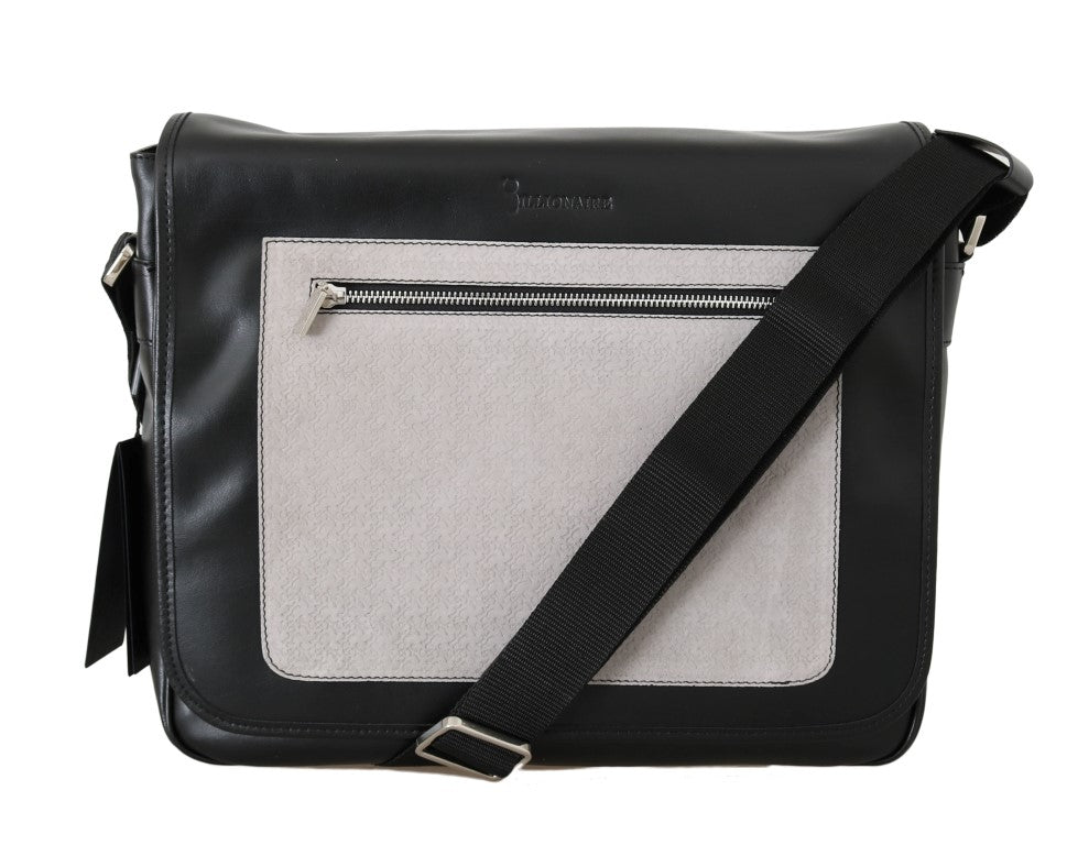 Black Gray Leather Messenger Shoulder Bag - EnModaLife.Com