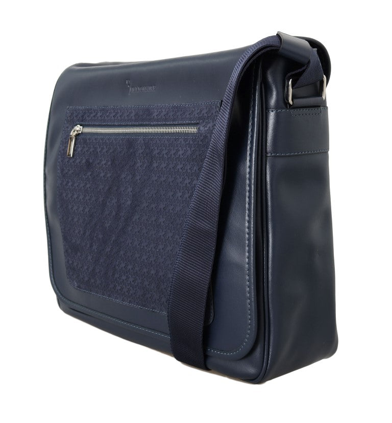 Blue Leather Messenger Shoulder Bag - EnModaLife.Com