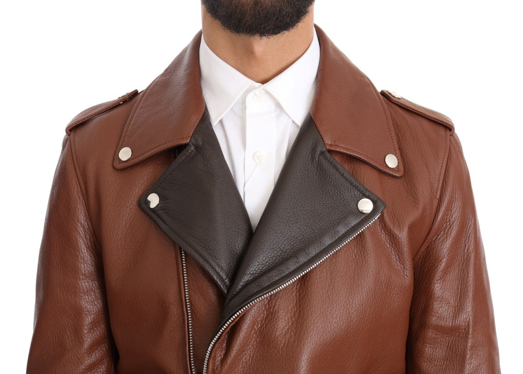 Brown Leather Biker Deerskin Jacket - EnModaLife.Com