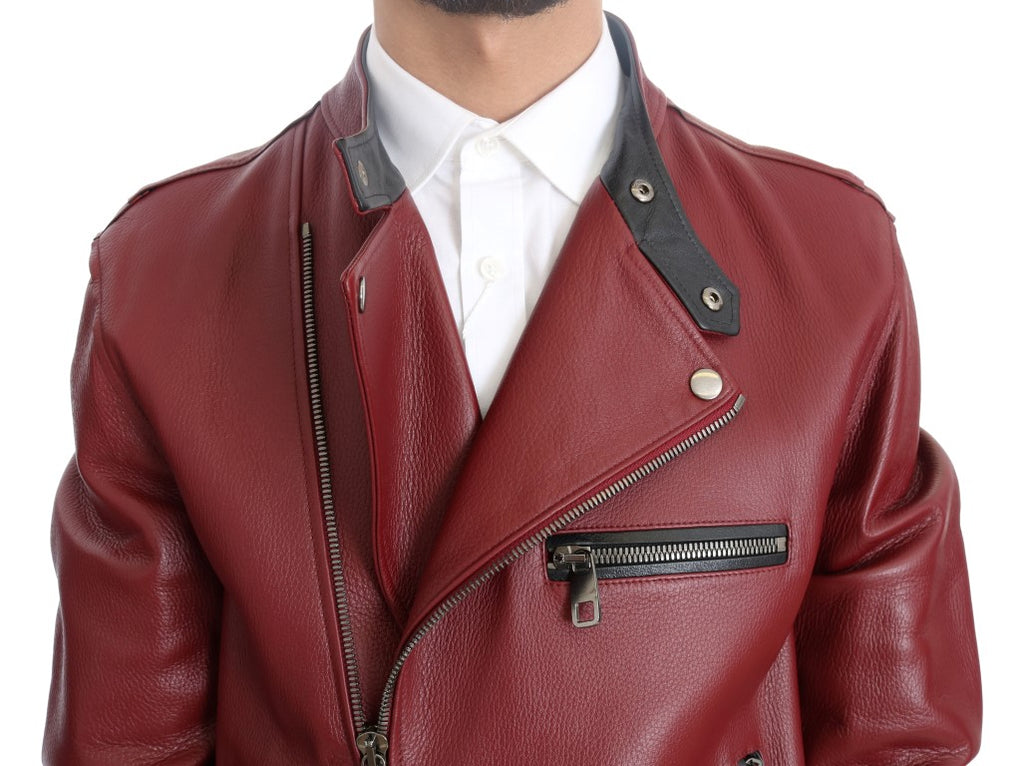 Red Leather Deerskin Jacket - EnModaLife.Com