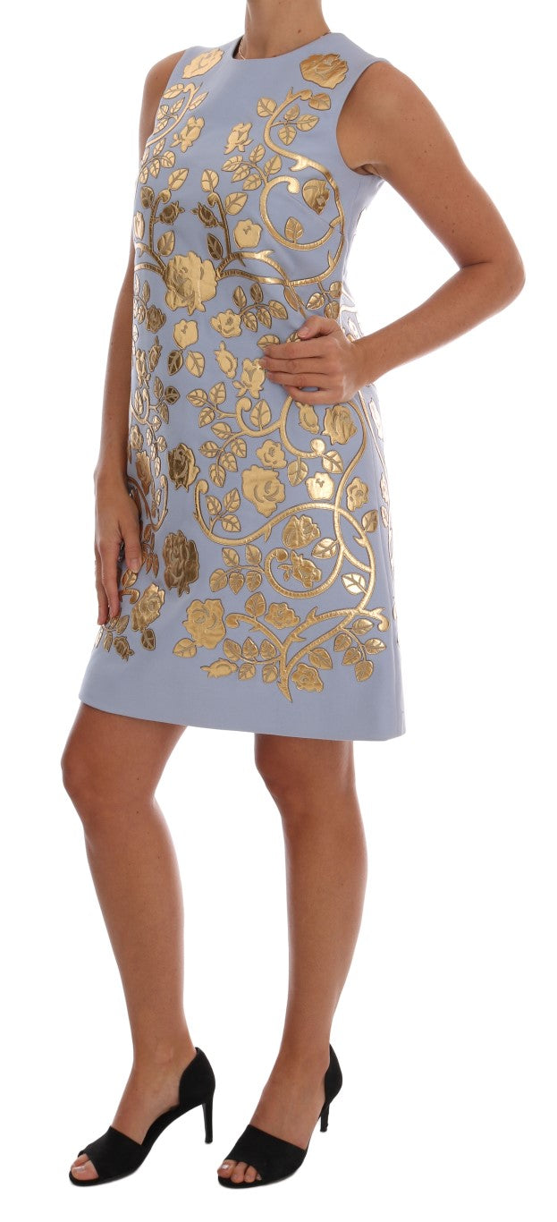 Blue Wool Gold Floral Leather Crystal Dress - EnModaLife.Com