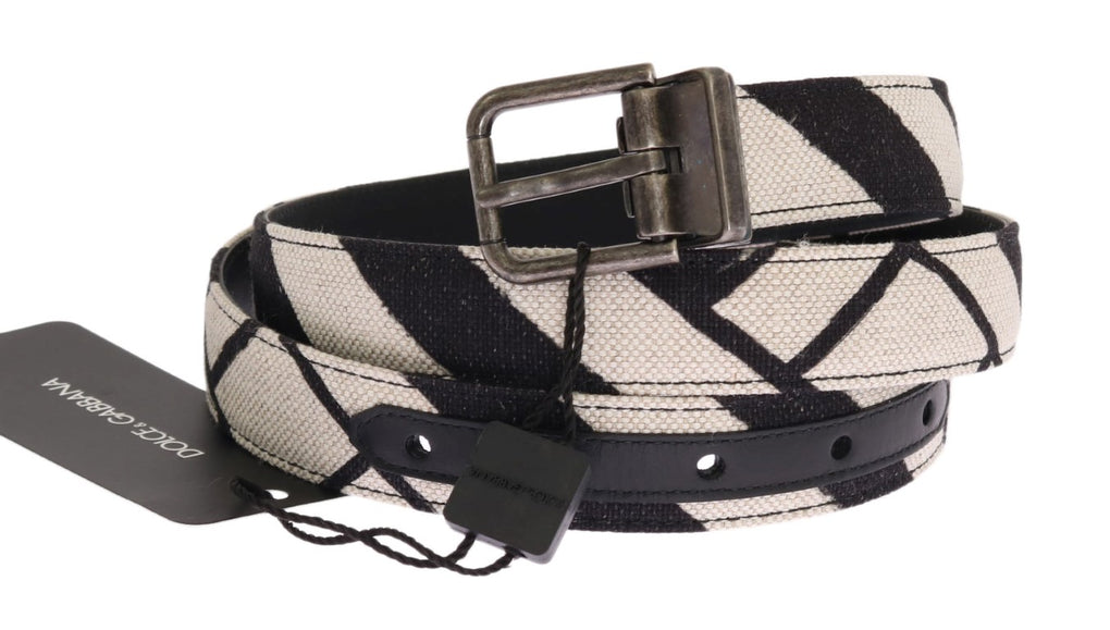 Black White Striped Linen Leather Belt - EnModaLife.Com