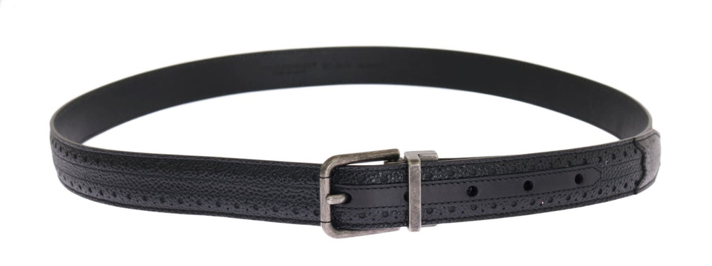 Black Leather Gray Buckle Belt - EnModaLife.Com