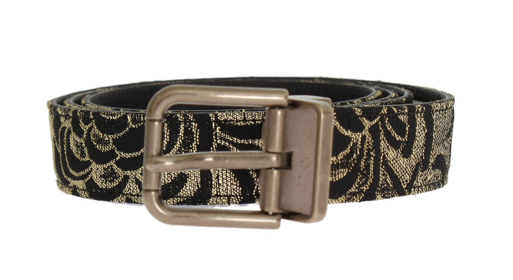 Black Leather Gold Brocade Belt - EnModaLife.Com