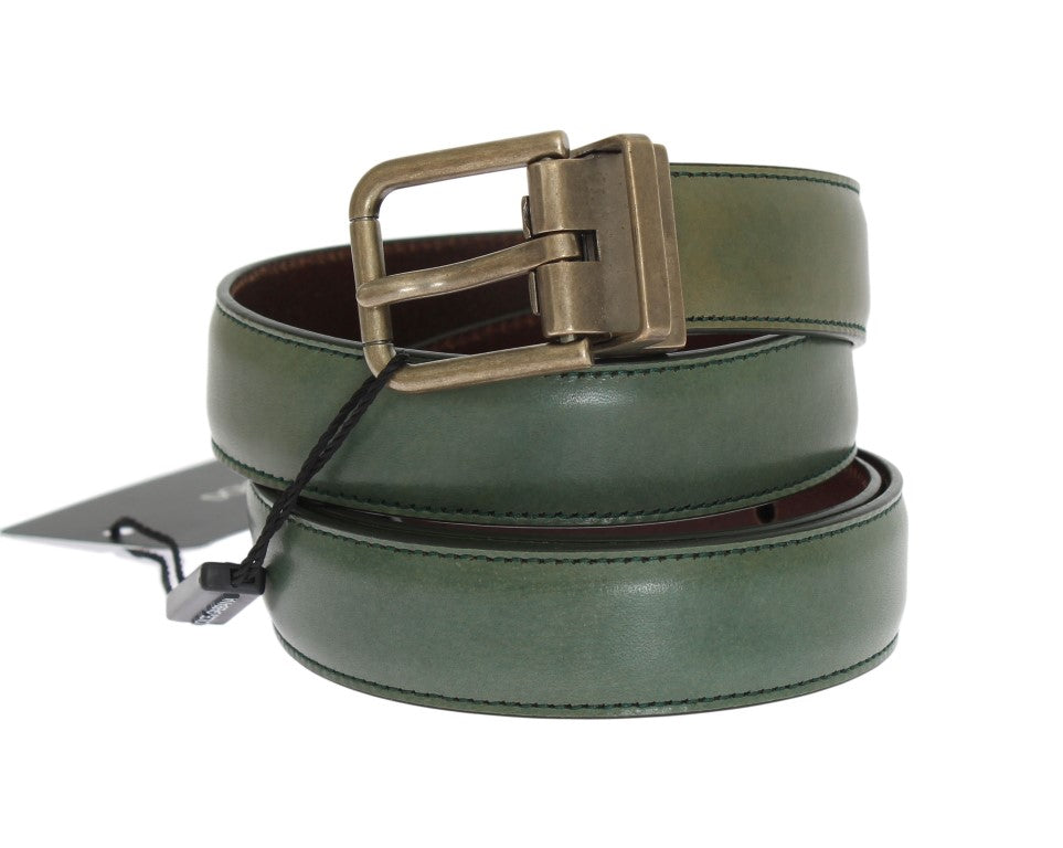 Green Leather Gold Buckle Belt - EnModaLife.Com