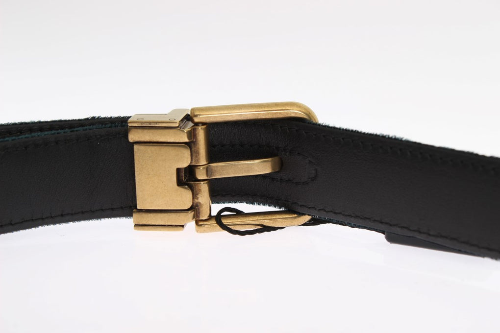 Green Velvet Leather Gold Buckle Belt - EnModaLife.Com