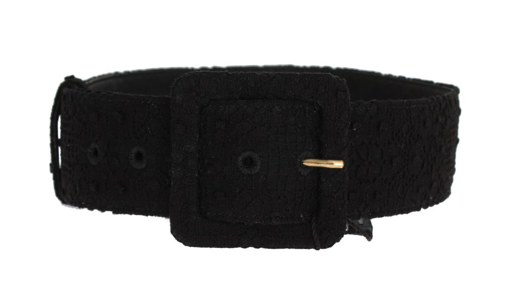 Black Cotton Leather Lace Wide Belt - EnModaLife.Com