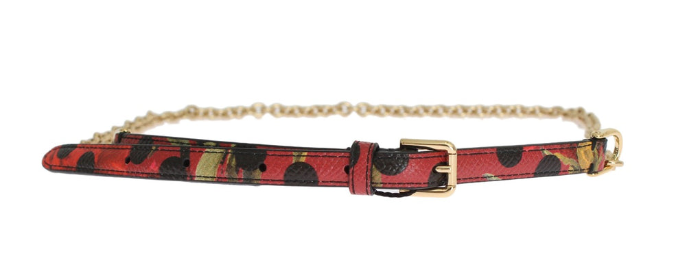Red Polka Dot Leather Thin Gold Chain Belt - EnModaLife.Com