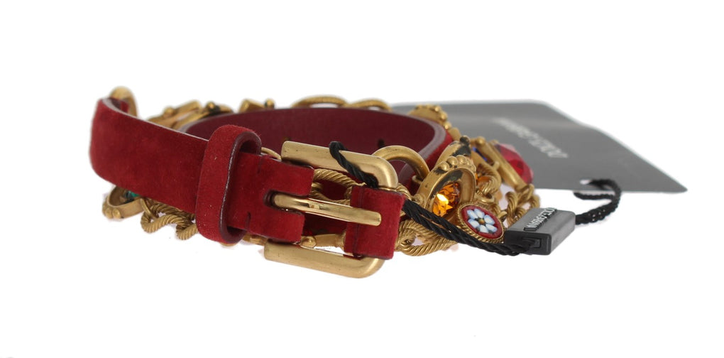 Red Suede Multicolor Crystal Belt - EnModaLife.Com