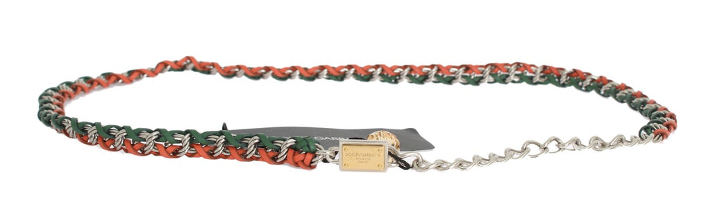 Green Orange Leather Crystal Belt - EnModaLife.Com