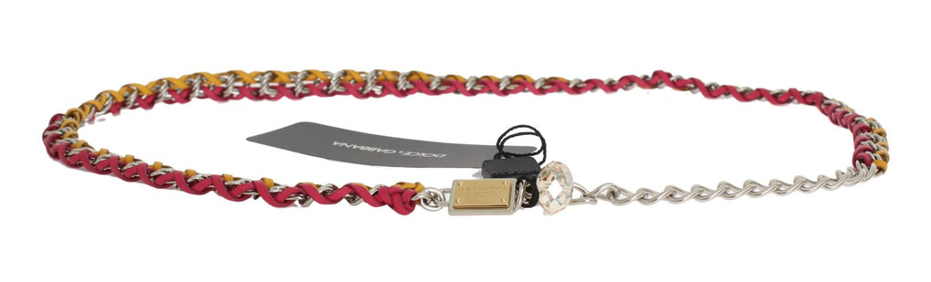 Red Yellow Leather Crystal Belt - EnModaLife.Com