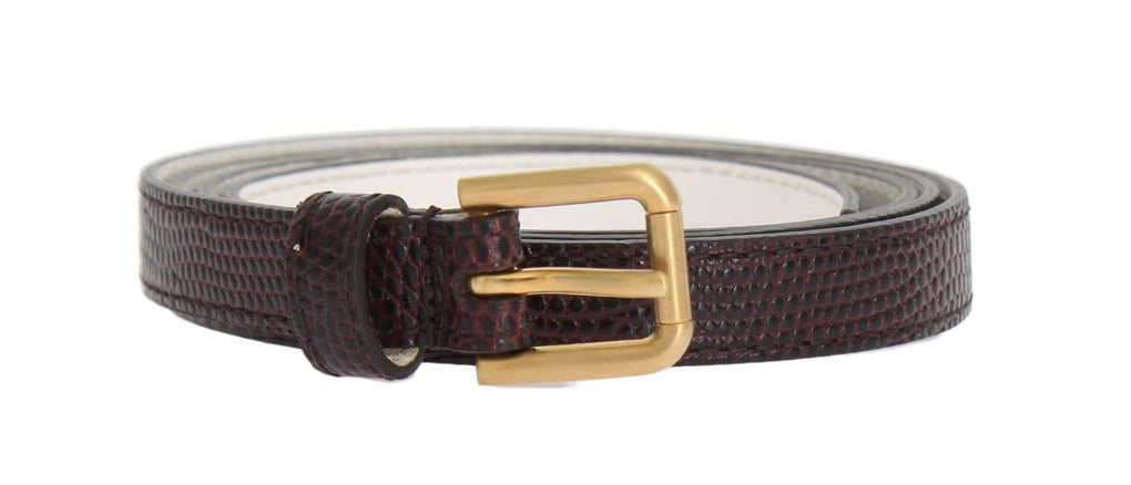 Bordeaux Leather Gold Buckle Belt - EnModaLife.Com