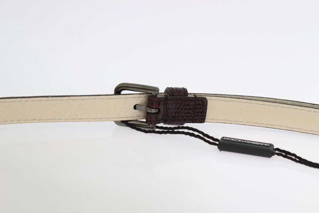 Bordeaux Leather Silver Buckle Belt - EnModaLife.Com