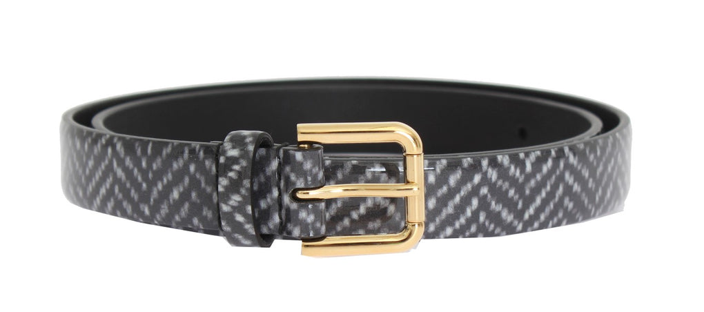 Gray Leather Gold Buckle Belt - EnModaLife.Com