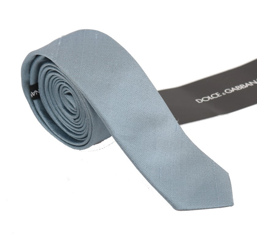 Light Blue Solid Silk Tie - EnModaLife.Com