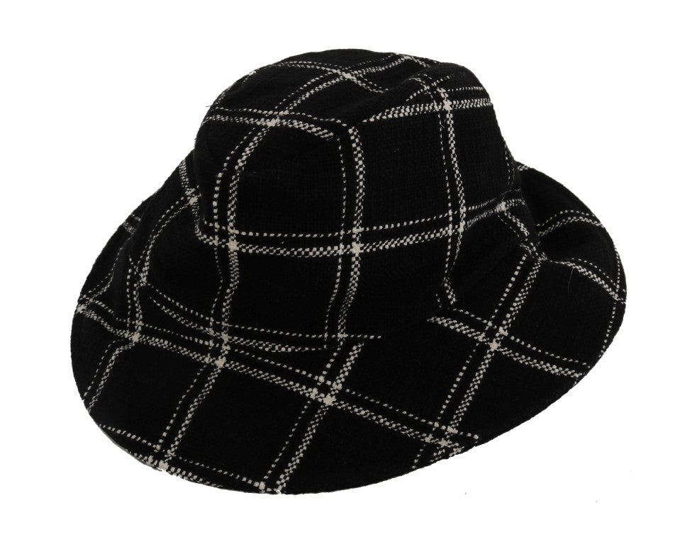 Black Virgin Wool Patterned Hat - EnModaLife.Com
