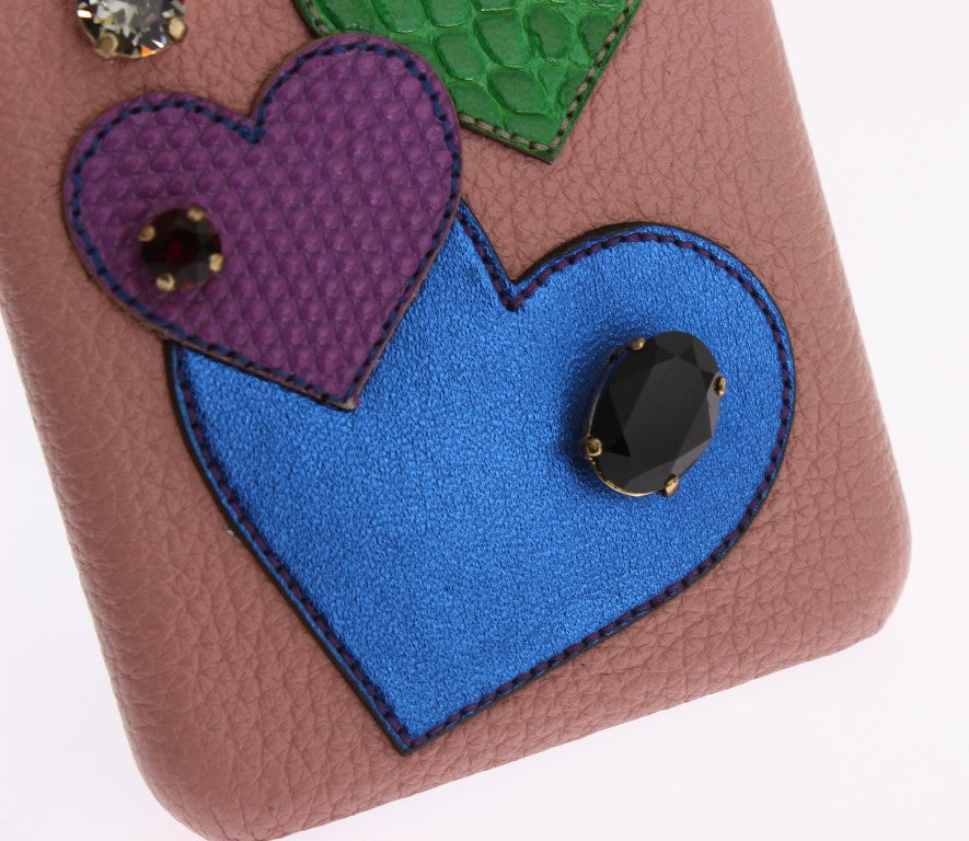 Pink Leather Heart Crystal Phone Case - EnModaLife.Com