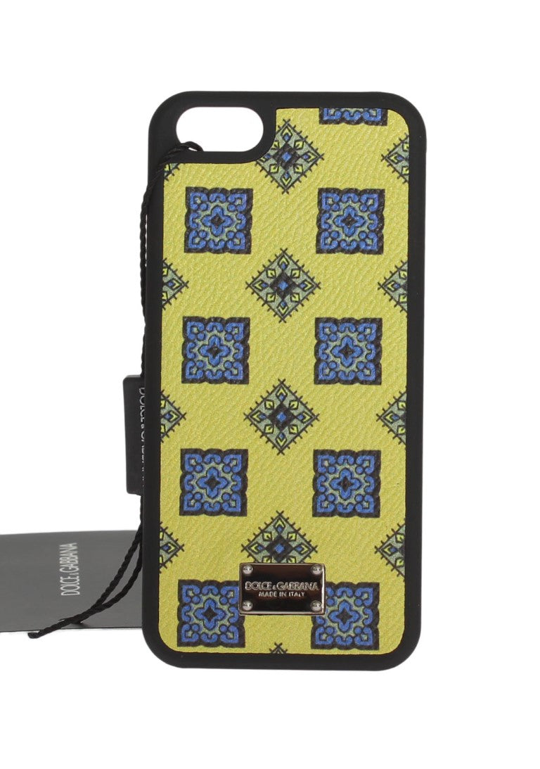 Yellow Blue Pattern Leather Phone Cover - EnModaLife.Com