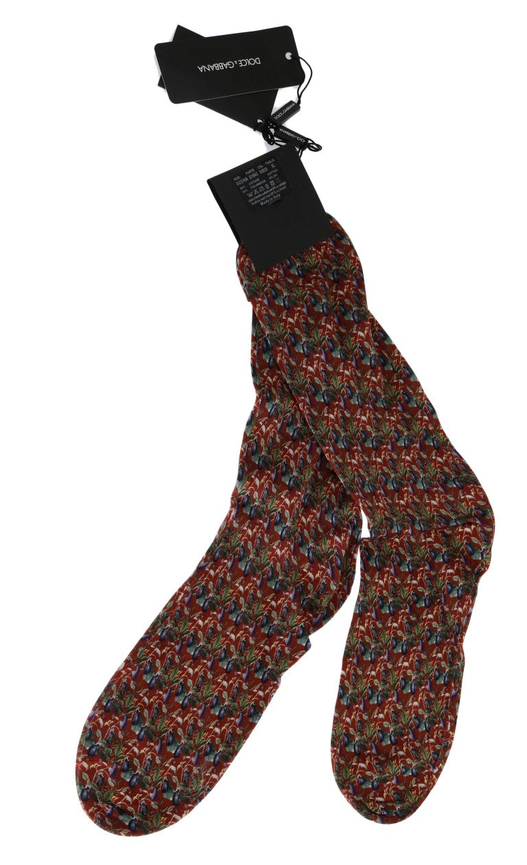Bordeaux Cotton Aubergine Pattern Socks - EnModaLife.Com