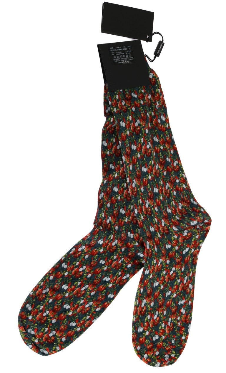 Multicolor Cotton Tomato Garlic Print Socks - EnModaLife.Com