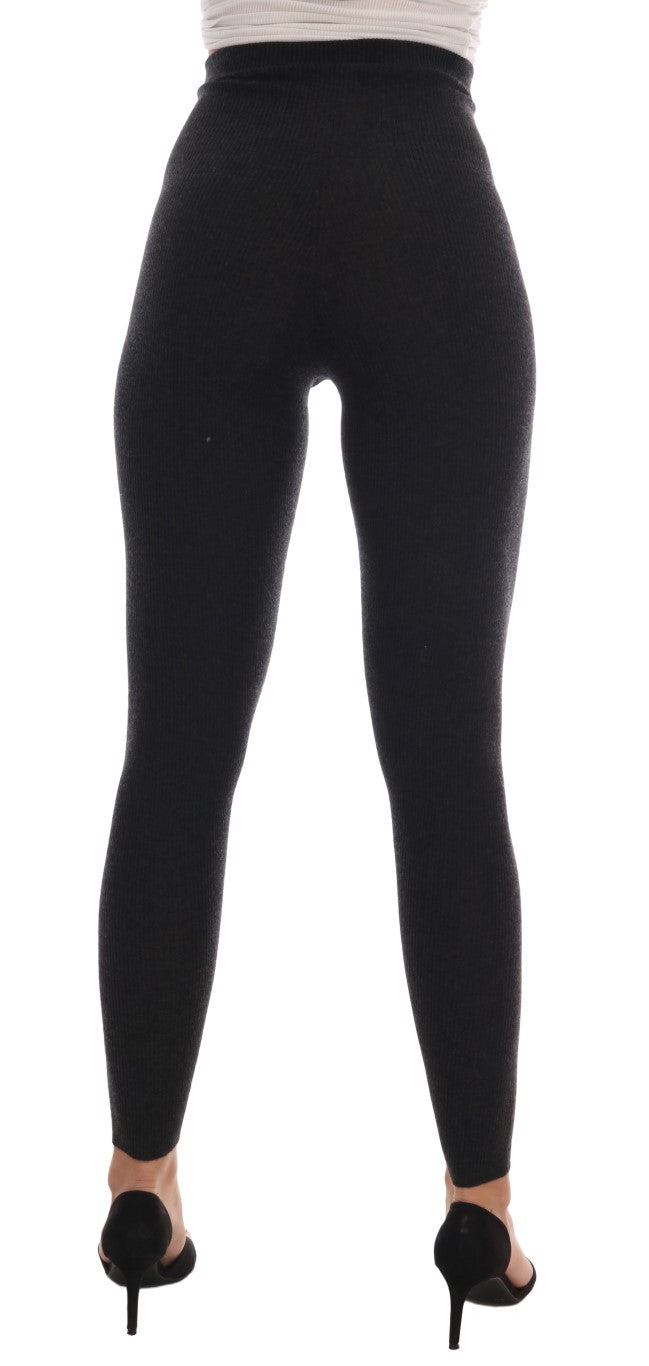 Gray Cashmere Ribbed Stretch Tights - EnModaLife.Com