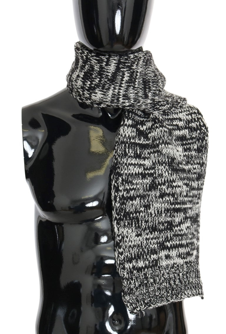 Black White Wool Knitted Scarf - EnModaLife.Com