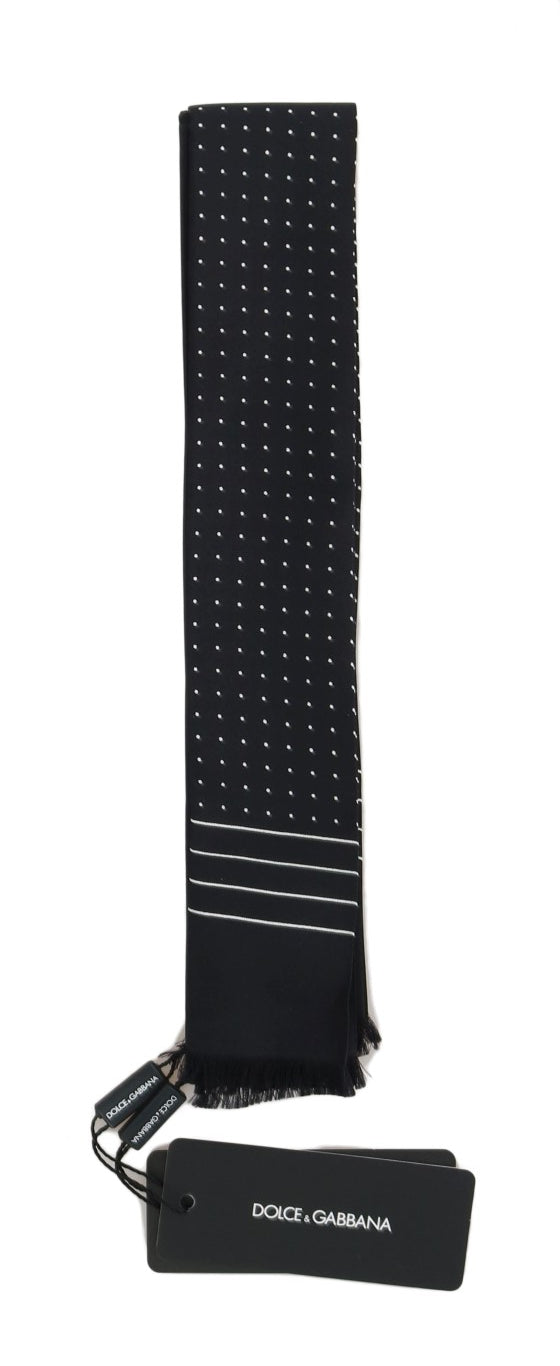 Dark Blue Polka Dotted Silk Scarf - EnModaLife.Com