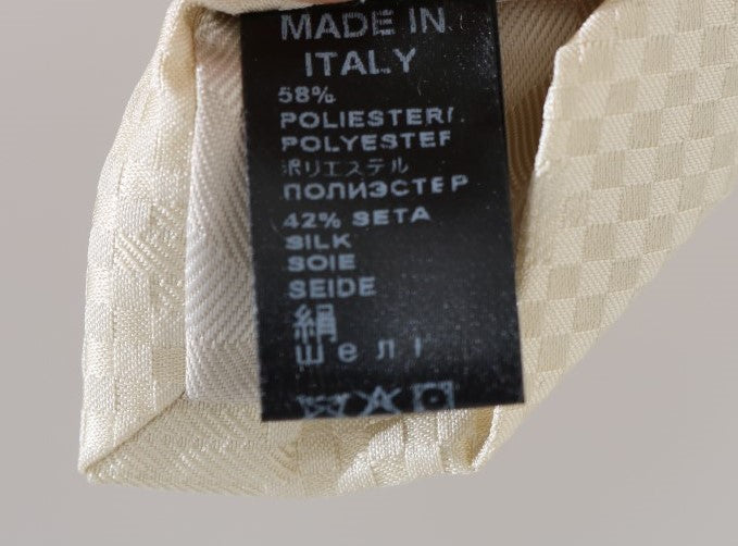 Beige Patterned Silk Tie - EnModaLife.Com