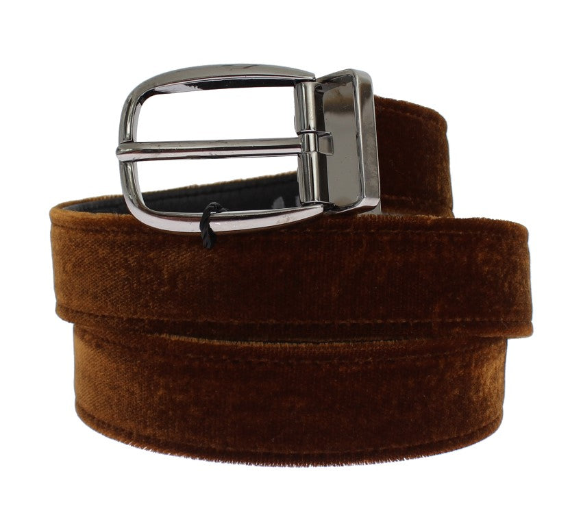 Brown Velvet Logo Waist Silver Buckle Belt - EnModaLife.Com